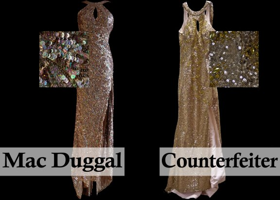 A comparison of Mac Duggal Style 3434 and its Counterfeit Copy from Modern Bridals.