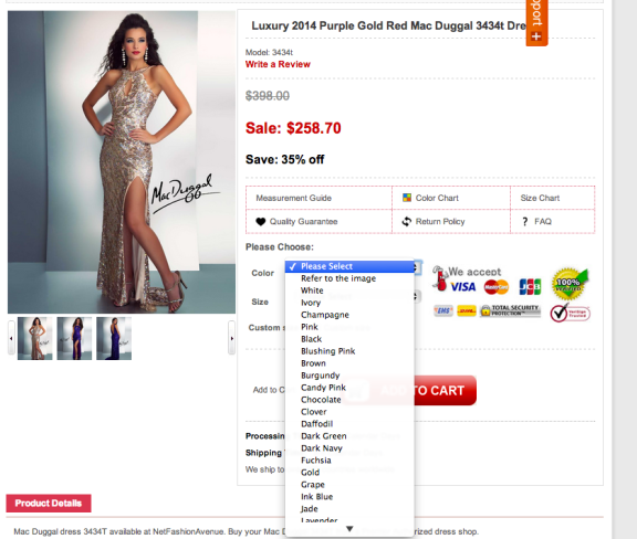 Modern Bridals Dress 3434T is a counterfeit copy of Mac Duggal Style 3434.
