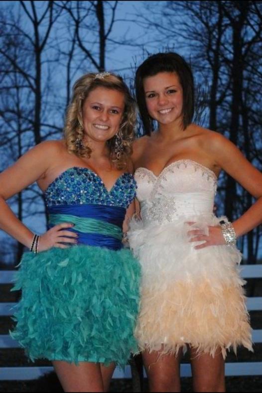 Victoria Van Zant and best friends are both wearing beautiful Mac Duggal Dresses.