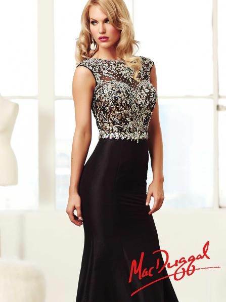 Mac Duggal Style 82066M - Black Prom Dress