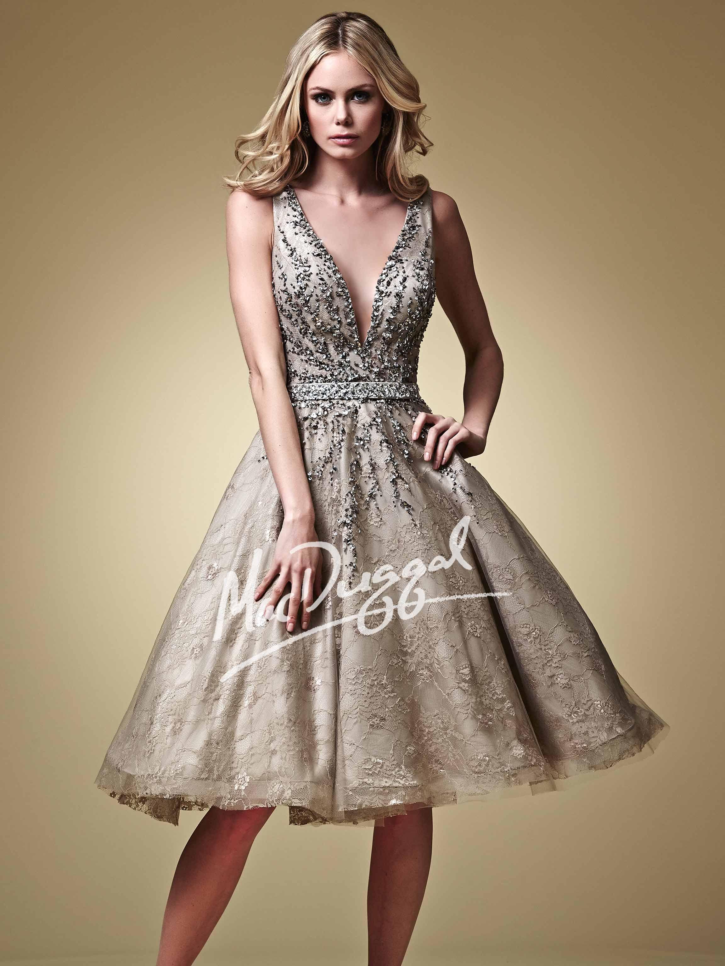 Mac Duggal Style 82098D - Tea Length Couture Dress 7058685d5