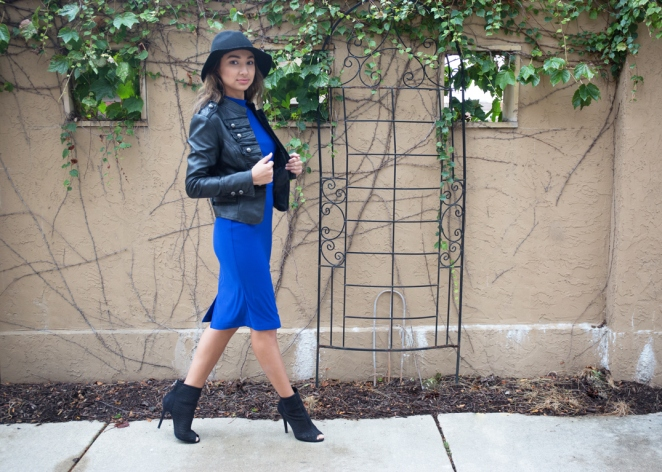 street styling a blue dress